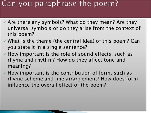 How to paraphrase poetry