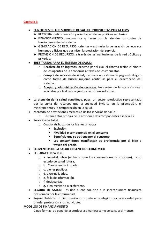 Capitulo 3  FUNCIONES DE LOS SERVICIOS DE SALUD : PROPUESTAS POR LA OMS  RECTORIA: definir la visión y orientación de la...