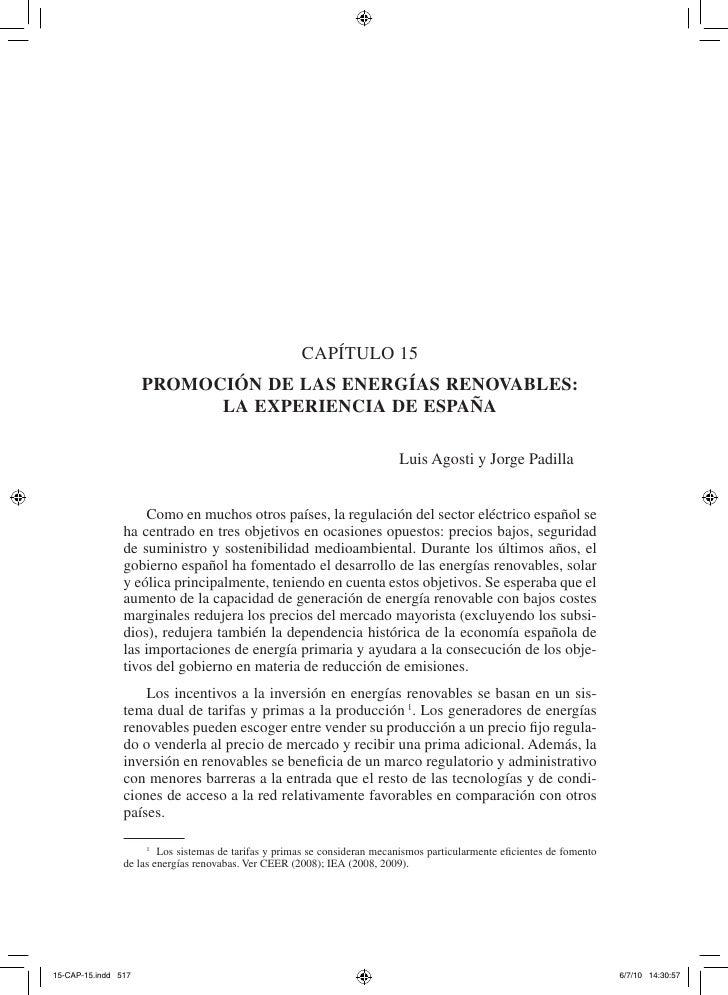 Capítulo 15    Promoción de las energías renovables:          la exPeriencia de esPaña                                    ...
