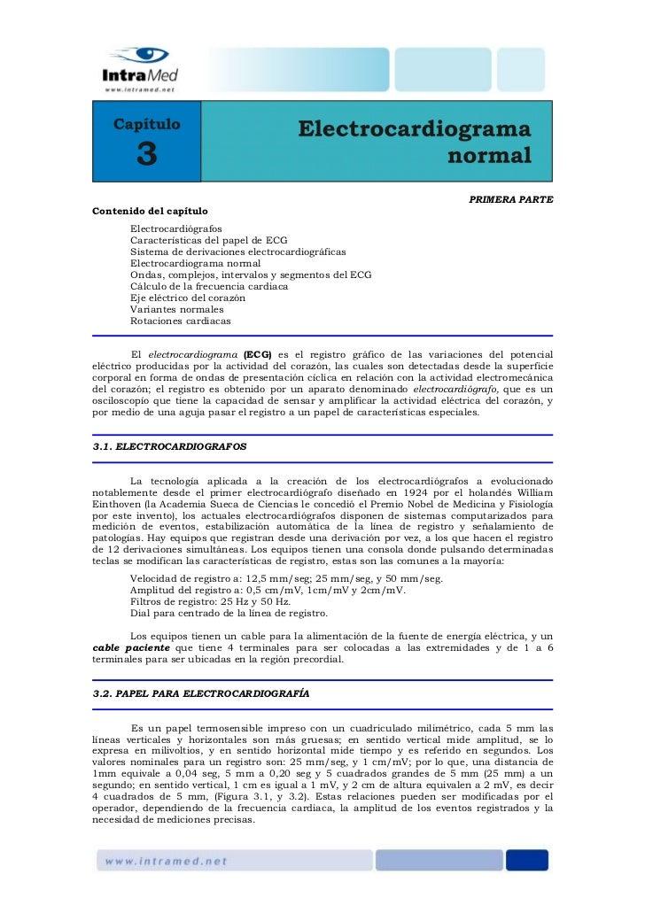 PRIMERA PARTEContenido del capítulo       Electrocardiógrafos       Características del papel de ECG       Sistema de deri...