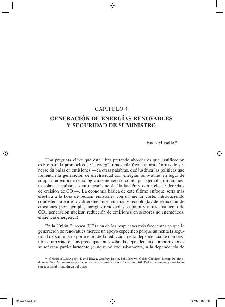 Capítulo 4         Generación de enerGías renovables             y seGuridad de suministro                                ...