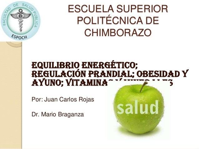 ESCUELA SUPERIORPOLITÉCNICA DECHIMBORAZOEquilibrio Energético;regulación prandial; obesidad yayuno; vitaminas y mineralesP...