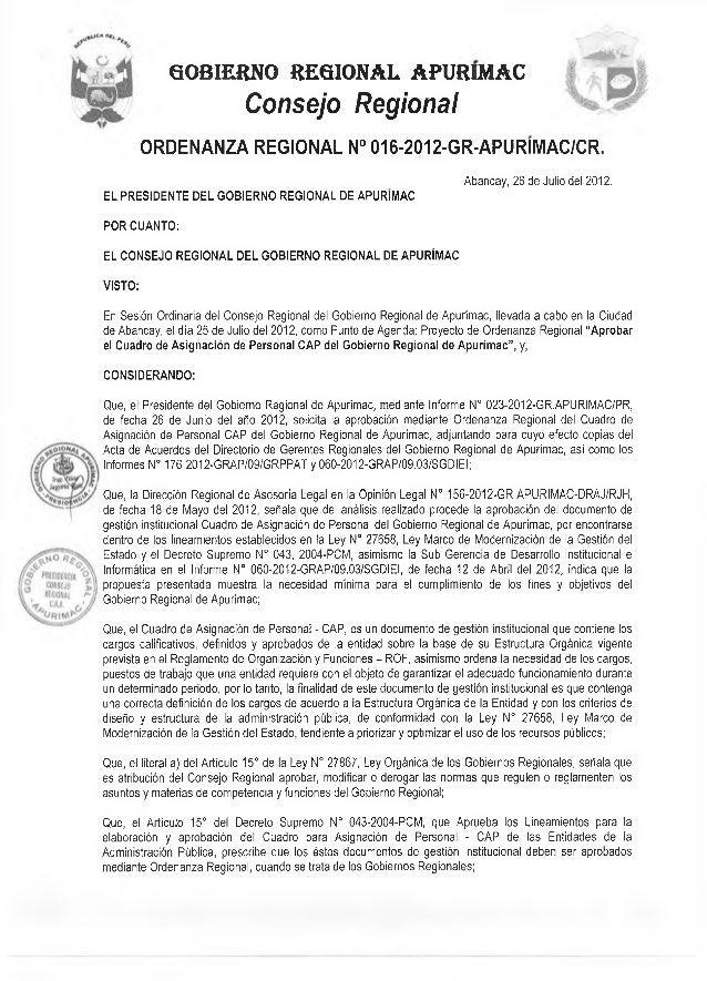 GOBIERNO REGIONAL APURIMAC  Consejo Regional  ORDENANZA REGIONAL N° 016-2012-GR-APURIMAC/CR.  EL PRESIDENTE DEL GOBIERNO R...