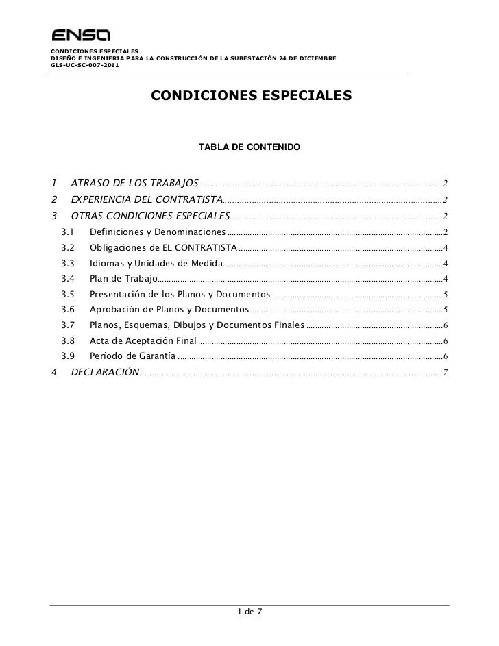 CONDICIONES ESPECIALESDISEÑO E INGENIERIA PARA LA CONSTRUCCIÓN DE LA SUBESTACIÓN 24 DE DICIEMBREGLS-UC-SC-007-2011        ...