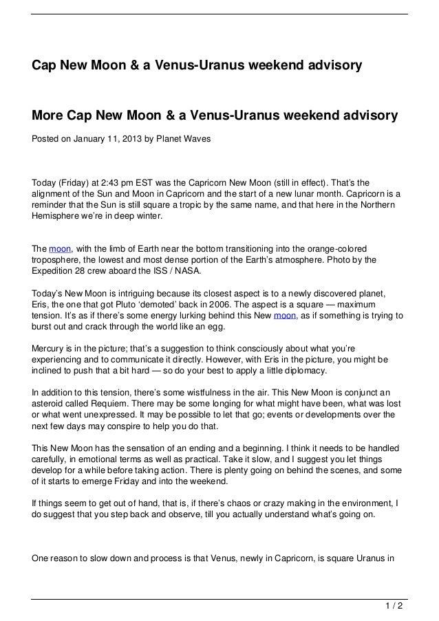 Cap New Moon & a Venus-Uranus weekend advisory