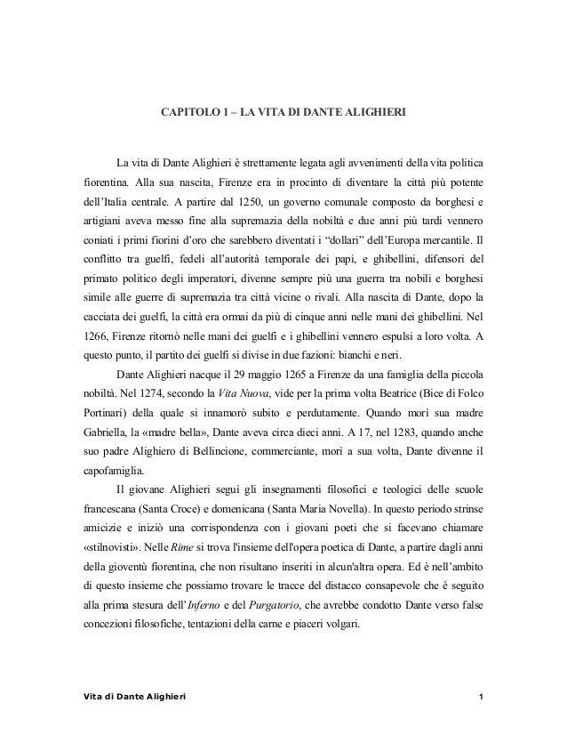 CAPITOLO 1 – LA VITA DI DANTE ALIGHIERI  La vita di Dante Alighieri è strettamente legata agli avvenimenti della vita poli...