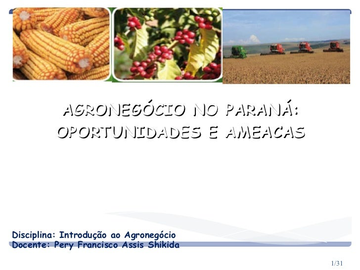 AGRONEGÓCIO NO PARANÁ: OPORTUNIDADES E AMEACAS Gilmar Mendes Lourenço Disciplina: Introdução ao Agronegócio Docente: Pery ...