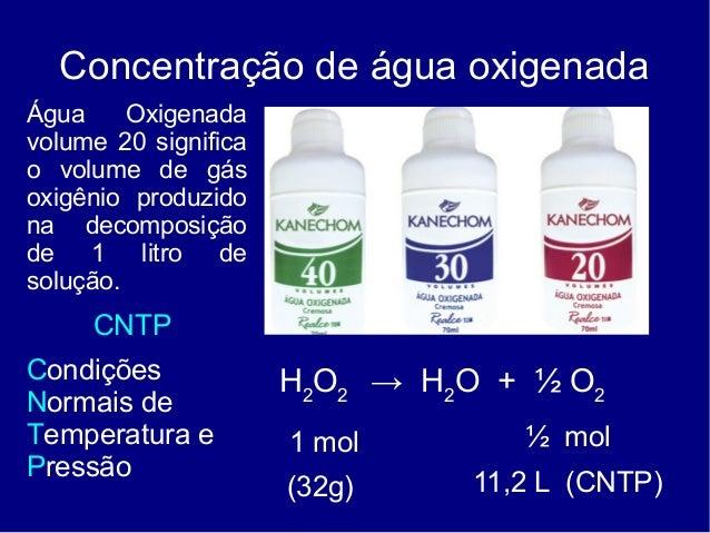 Concentração de água oxigenadaÁgua     Oxigenadavolume 20 significao volume de gásoxigênio produzidona decomposiçãode 1 li...