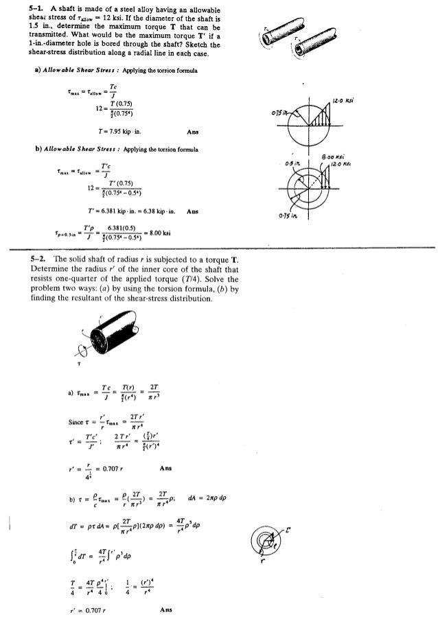 Resistência dos Materiais - Hibbeler 5ª Ed.Cap05 - Exercícios resolvidos