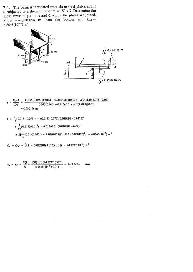 Resistência dos Materiais - Hibbeler 5ª Ed.Cap07 - Exercícios resolvidos