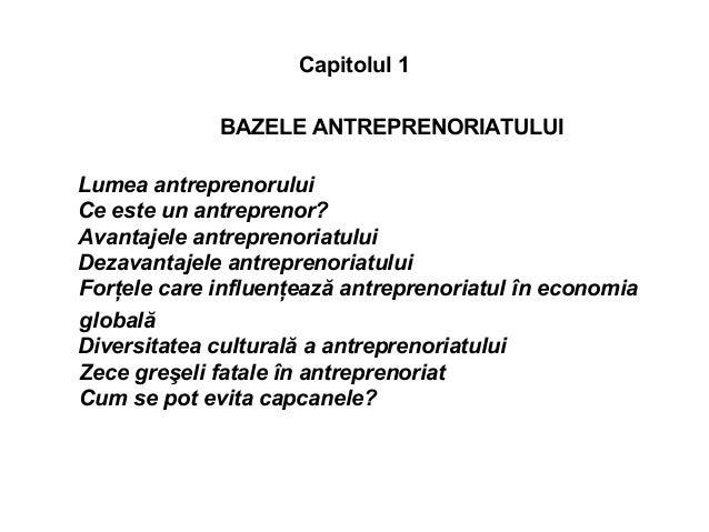 Capitolul 1 BAZELE ANTREPRENORIATULUI Lumea antreprenorului Ce este un antreprenor? Avantajele antreprenoriatului Dezavant...