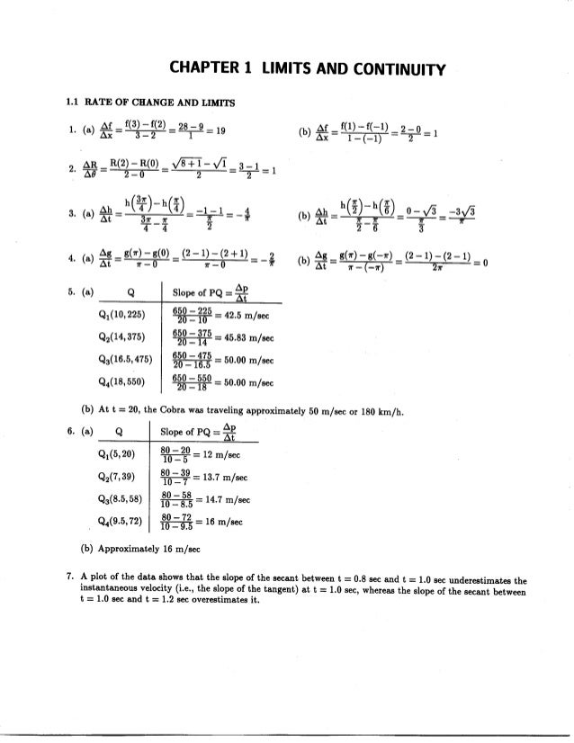 CHAPTER 1 LIMITS AND CONTINUITY  1.1 RATE OF CHANGE AND LIMITS  1_ (a) Ag= f(3)-f(2)=2s-9=19 (b) Ar_f(1)-f(-1) 2-0  _í 2-:...