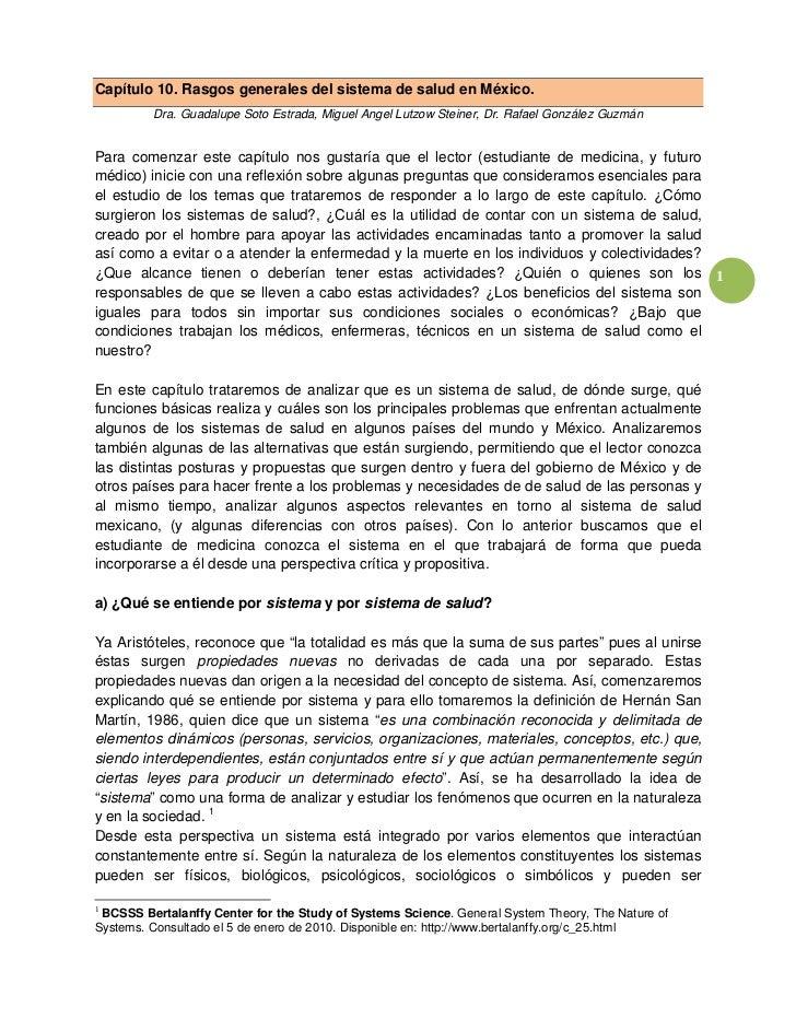Capítulo 10. Rasgos generales del sistema de salud en México.         Dra. Guadalupe Soto Estrada, Miguel Angel Lutzow Ste...