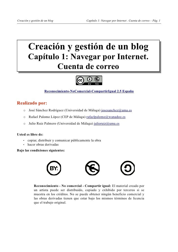 Creación y gestión de un blog                   Capítulo 1: Navegar por Internet . Cuenta de correo – Pág. 1        Creaci...