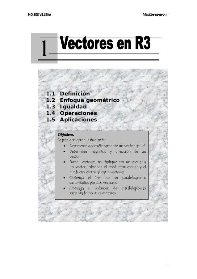 MOISES VILLENA                                                    Vectores en R3      1          1.1     Definición       ...