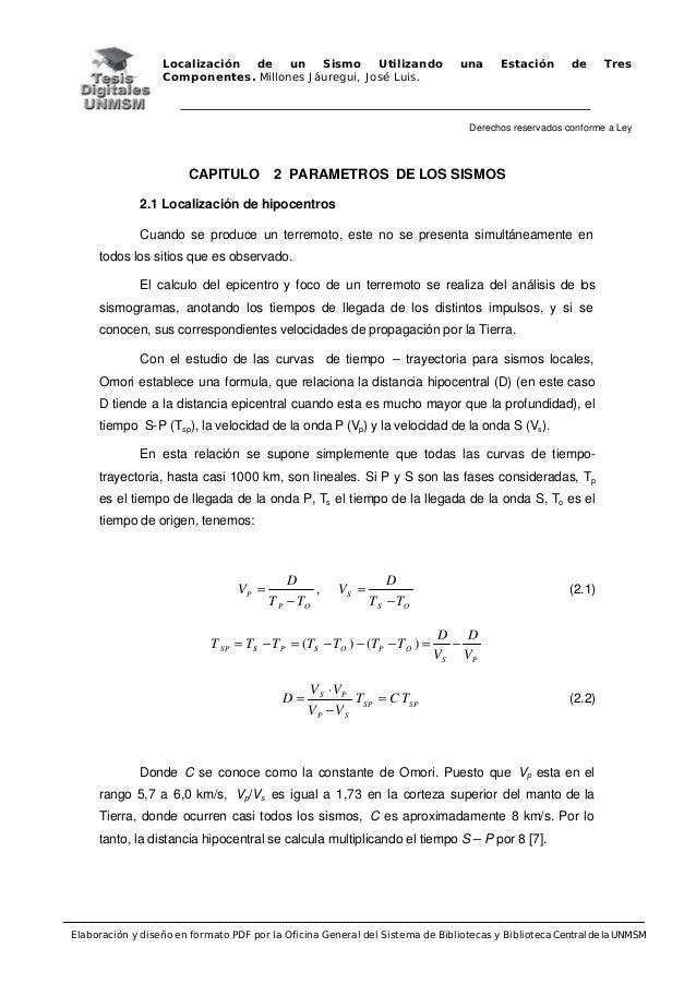 Localización de un Sismo Utilizando una Estación de Tres Componentes. Millones Jáuregui, José Luis. Derechos reservados co...