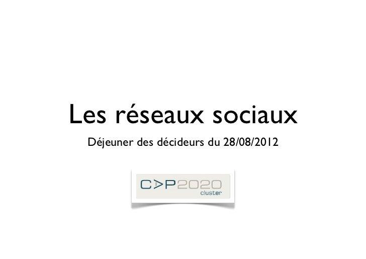Les réseaux sociaux Déjeuner des décideurs du 28/08/2012