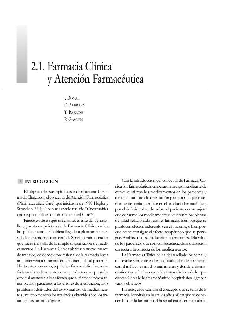 2.1. Farmacia Clínica              y Atención Farmacéutica                               J. BONAL                         ...