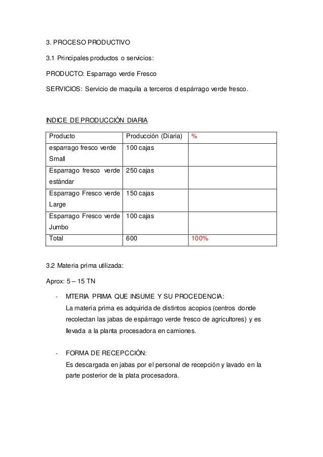 3. PROCESO PRODUCTIVO 3.1 Principales productos o servicios: PRODUCTO: Esparrago verde Fresco SERVICIOS: Servicio de maqui...