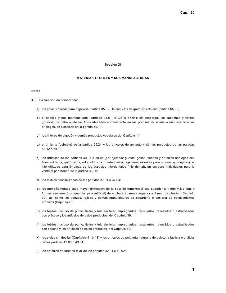 Cap. 50                                                           Sección XI                                    MATERIAS T...