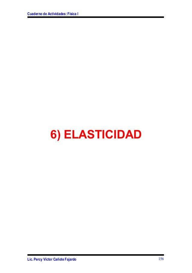 Cuaderno de Actividades: Física I6) ELASTICIDADLic. Percy Víctor Cañote Fajardo 156