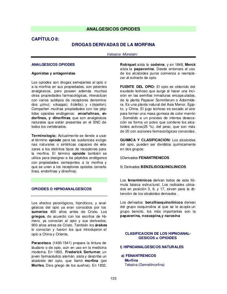 ANALGESICOS OPIODESCAPÍTULO 8:                         DROGAS DERIVADAS DE LA MORFINA                                     ...