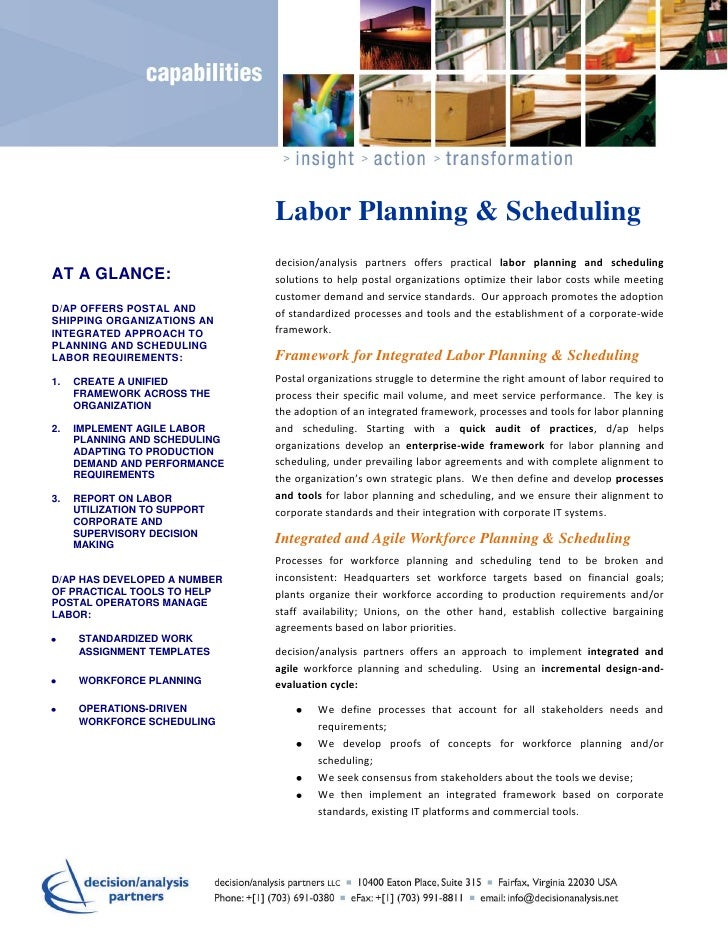 Capability   labor planning  scheduling