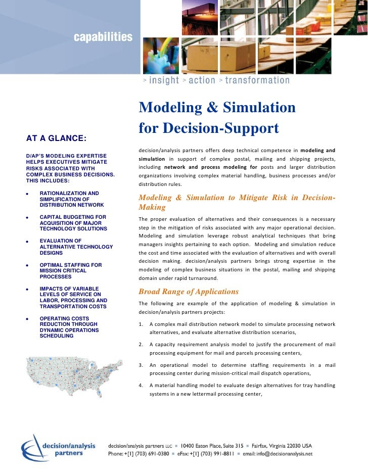Modeling & Simulation                              for Decision-SupportAT A GLANCE:                              decision/...
