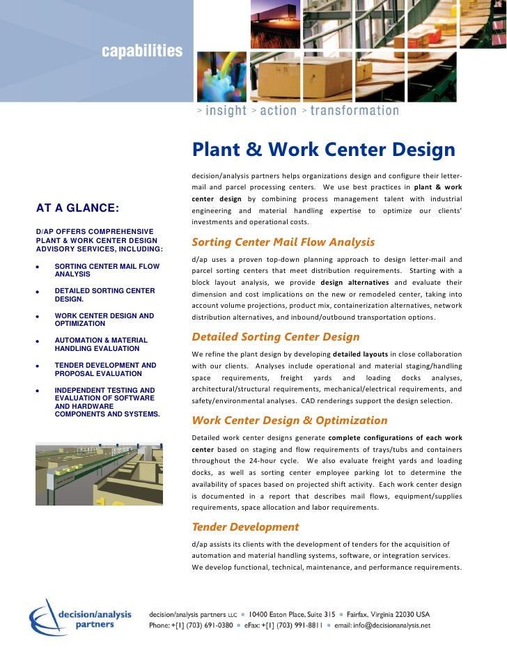 Plant & Work Center Design                                decision/analysis partners helps organizations design and config...