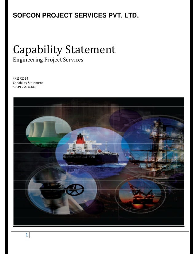 SOFCON PROJECT SERVICES PVT. LTD. 1 Capability Statement Engineering Project Services 4/11/2014 Capability Statement SPSPL...