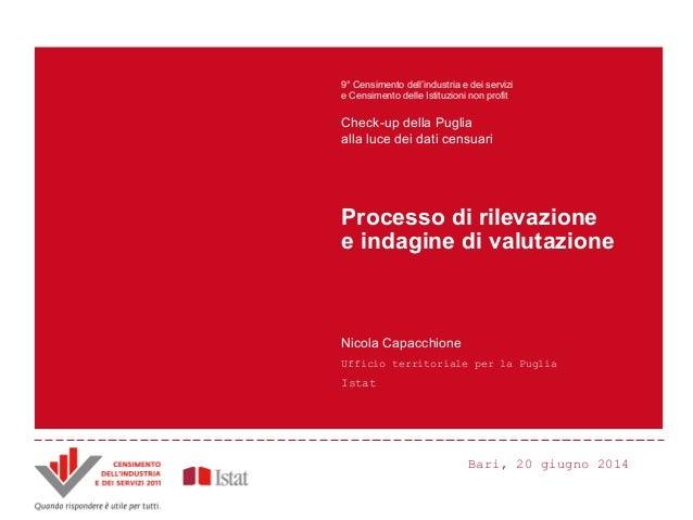 Bari, 20 giugno 2014 9° Censimento dell'industria e dei servizi e Censimento delle Istituzioni non profit Check-up della P...