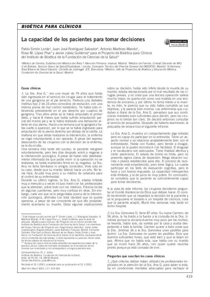 BIOÉTICA PARA CLÍNICOSLa capacidad de los pacientes para tomar decisiones                                                 ...