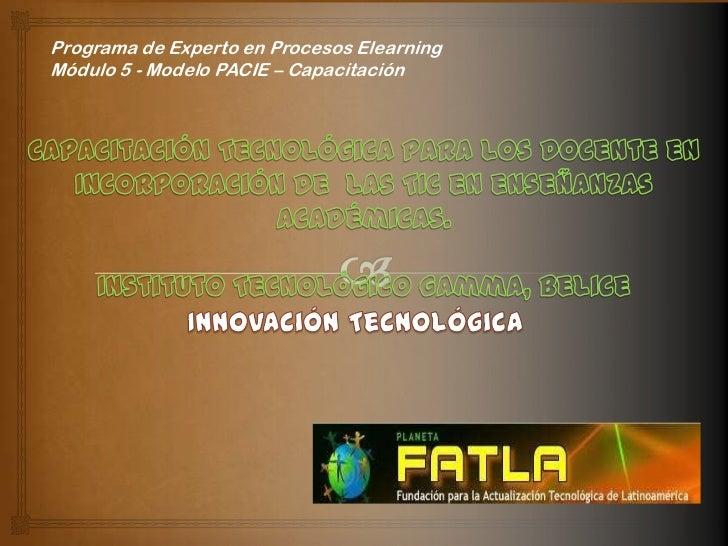 Programa de Experto en Procesos ElearningMódulo 5 - Modelo PACIE – Capacitación