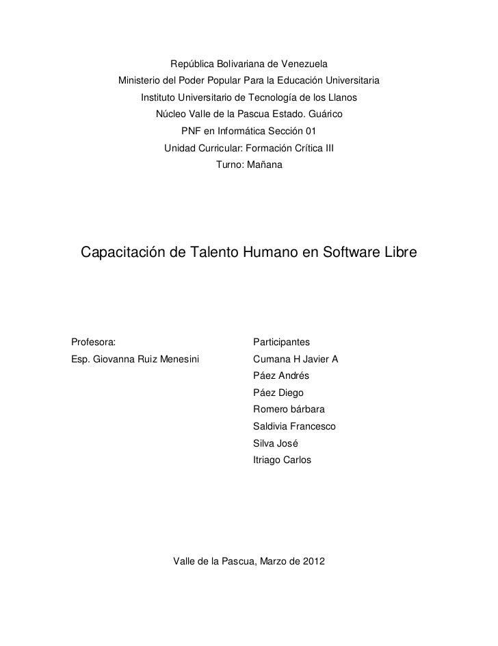 Capacitacion software libre