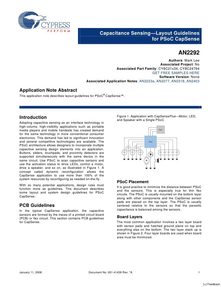Capacitance Sensing—Layout Guidelines                                                                            for PSoC ...