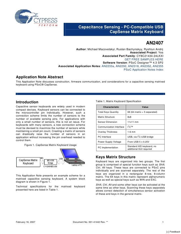 Capacitance Sensing - PC-Compatible USB                                                                    CapSense Matrix...