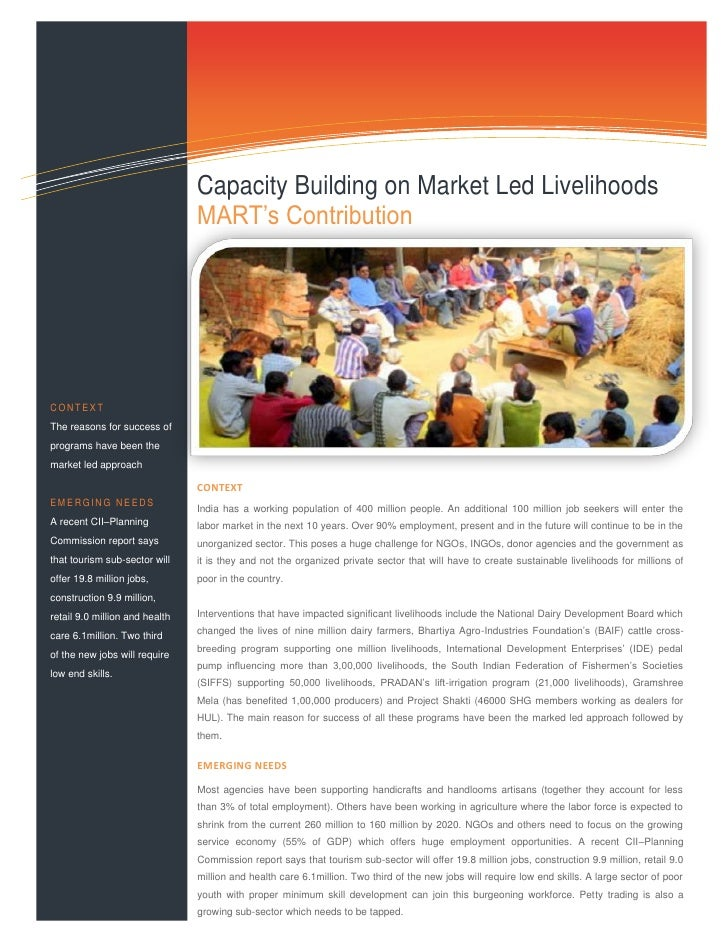 Capacity building on market led livelihoods