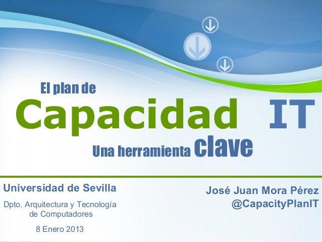 El plan de  Capacidad IT                        Una herramienta             claveUniversidad de Sevilla                   ...