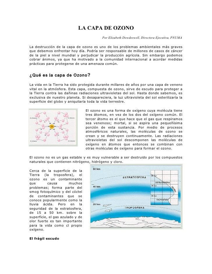 LA CAPA DE OZONO                                            Por Elizabeth Dowdeswell, Directora Ejecutiva, PNUMA  La destr...