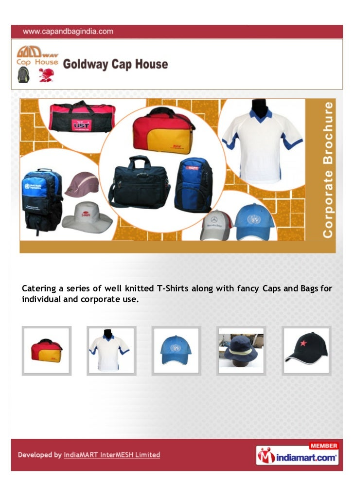 Catering a series of well knitted T-Shirts along with fancy Caps and Bags forindividual and corporate use.