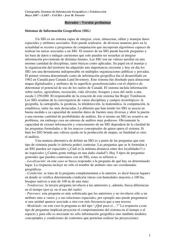 Cartografía, Sistemas de Información Geográficos y Teledetección Mayo 2007 – LART – FAUBA – José M. Paruelo               ...