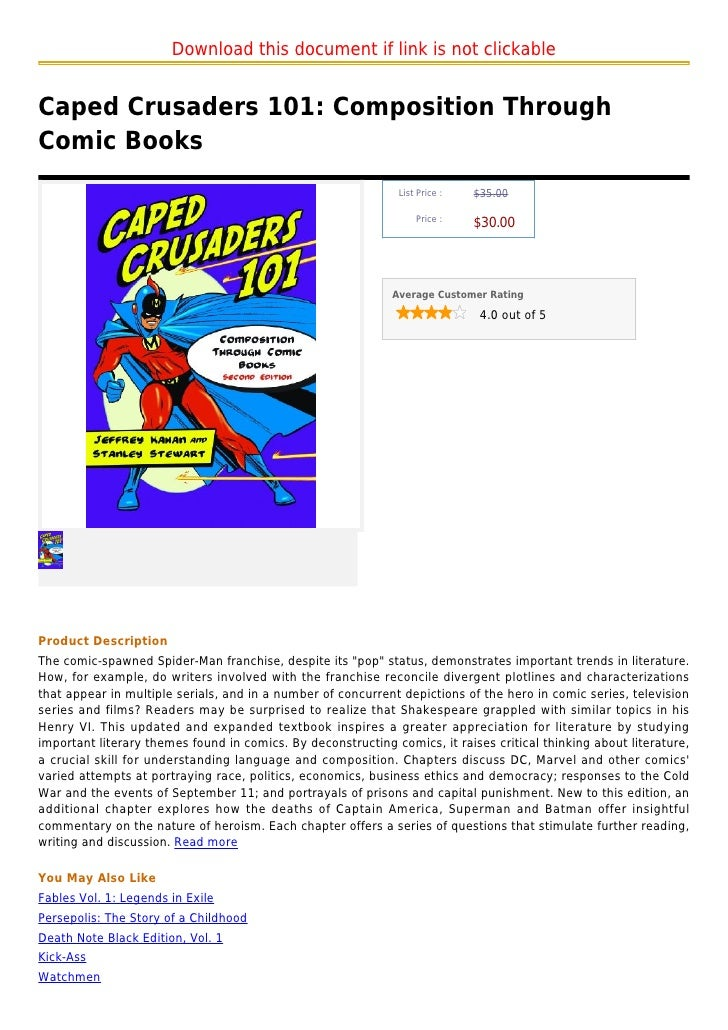 Download this document if link is not clickableCaped Crusaders 101: Composition ThroughComic Books                        ...