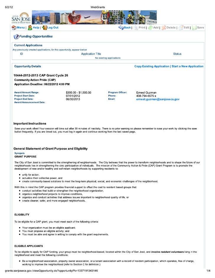 CAP Grant Cycle 26 Web Grants Info