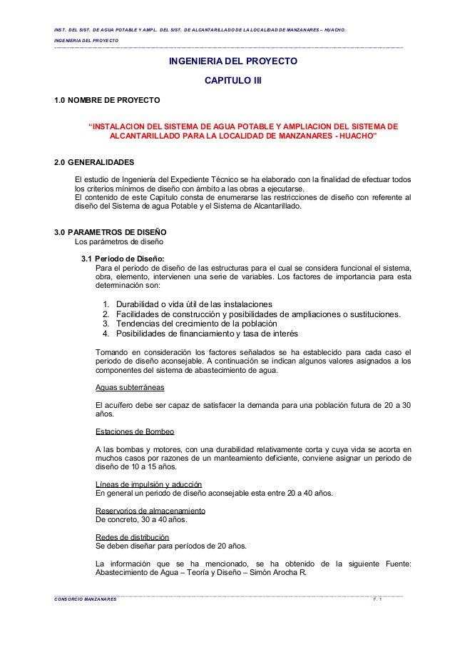 INST. DEL SIST. DE AGUA POTABLE Y AMPL. DEL SIST. DE ALCANTARILLADO DE LA LOCALIDAD DE MANZANARES – HUACHO. INGENIERIA DEL...
