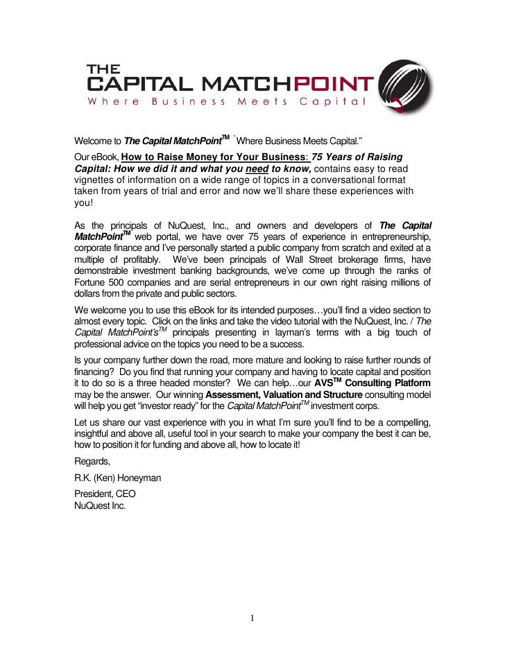 """Welcome to The Capital MatchPointTM """" Where Business Meets Capital."""" Our eBook, How to Raise Money for Your Business: 75 Y..."""