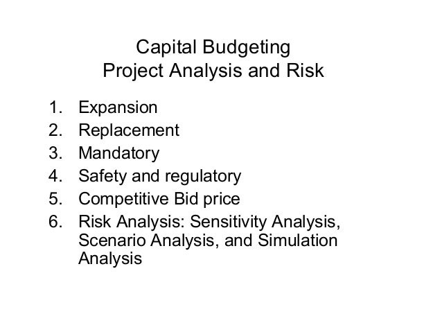 Capital Budgeting        Project Analysis and Risk1.   Expansion2.   Replacement3.   Mandatory4.   Safety and regulatory5....