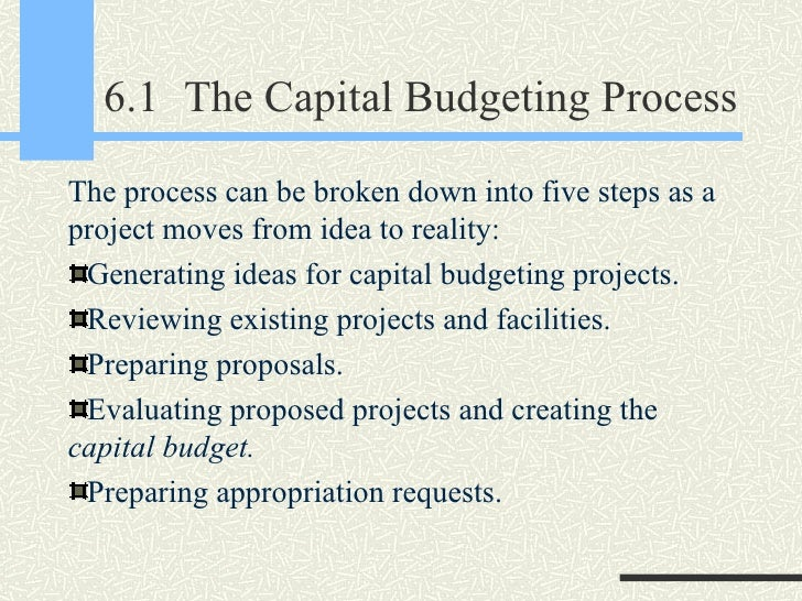 steps involved in capital budgeting proposals Lectures: financial management identify the steps involved in the capital budgeting process explain the procedure to generate long-term project proposals.