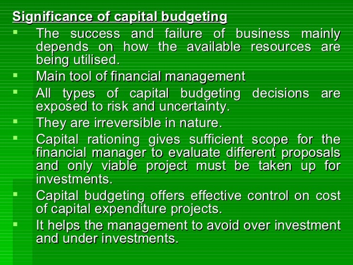 capital budgeting methods and cash essay In that study, 392 ceos of large companies were interviewed regarding the cost of capital, capital budgeting and capital structure the results give insight into which methods are most commonly used in practice, consistent with the focus on applied practices in the current study.