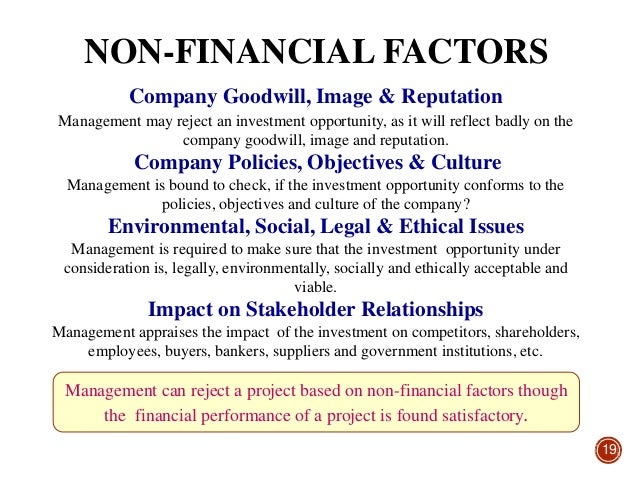 ethical issues in capital budgeting A number of factors affect capital budgeting decisions, including potential  inflation, soft benefits, and pressures on managers  view a company, the effect  on the environment, and employee considerations  employee moral.