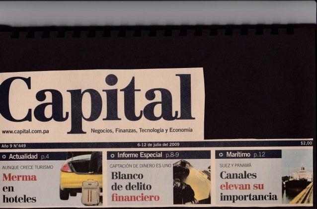 Capital Financiero Panama - Multiples Verdades de una Recesion por Jose Ricaurte Jaen - Julio 2009